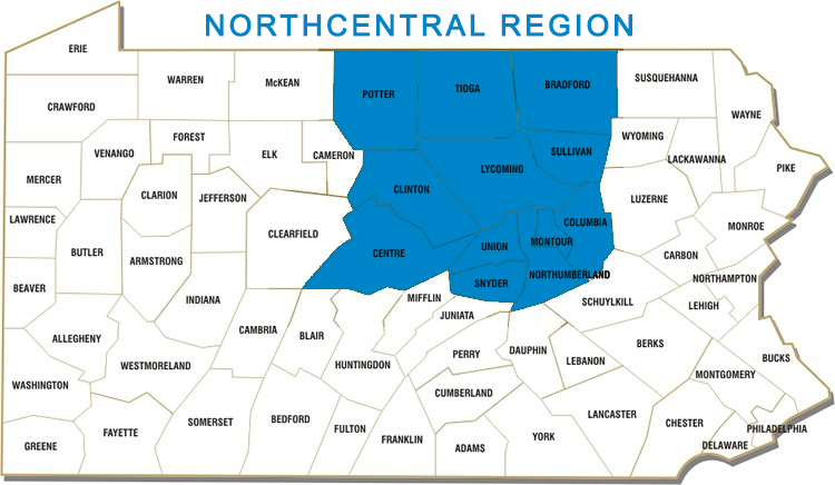 Bradford, Centre, Clinton, Columbia, Lycoming, Montour, Northumberland, Potter, Snyder, Sullivan, Tioga and Union Counties