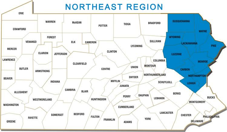 Carbon, Lackawanna, Lehigh, Luzerne, Monroe, Northampton, Pike, Susquehanna, Wayne and Wyoming Counties
