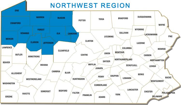 Cameron, Clarion, Crawford, Elk, Erie, Forest, Jefferson, McKean, Mercer, Venango and Warren Counties