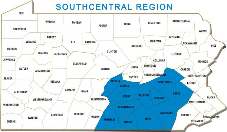 Adams, Berks, Cumberland, Dauphin, Franklin, Juniata, Lancaster, Lebanon, Mifflin, Perry, Schuykill and York Counties