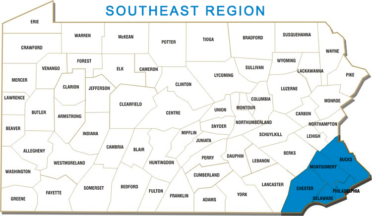 Bucks, Chester, Delaware, Montgomery and Philadelphia Counties