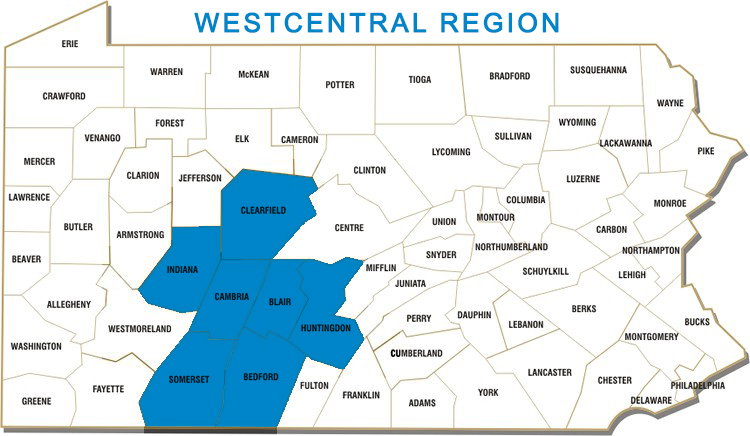 Bedford, Blair, Cambria, Clearfield, Fulton, Huntingdon, Indiana and Somerset Counties
